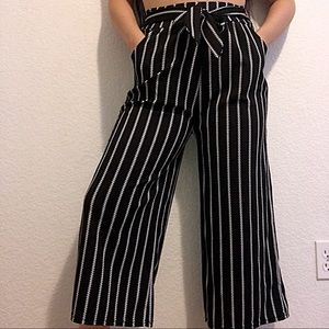 Pants - Striped High Waisted Wide Leg Crop pants